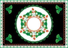 Raccolta dei telai e degli ornamenti con le fragole Immagini Stock