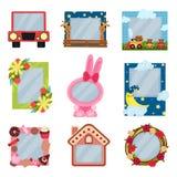 Raccolta dei telai svegli della foto per i ragazzi e ragazze, modelli dell'album per i bambini con spazio per la foto o testo, ca illustrazione di stock