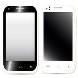 Raccolta dei telefoni cellulari realistici con lo schermo in bianco nel nero Fotografia Stock Libera da Diritti