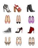 Raccolta dei tipi di scarpe royalty illustrazione gratis
