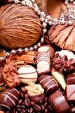 Raccolta dei truffels differenti delle praline del cioccolato Fotografia Stock