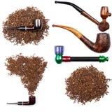 Raccolta dei tubi e del tabacco di fumo fotografia stock