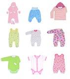 Raccolta dei vestiti dei bambini Fotografia Stock