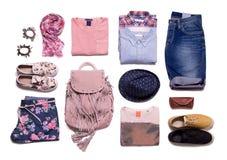 Raccolta dei vestiti di estate nello stile casuale Fotografia Stock