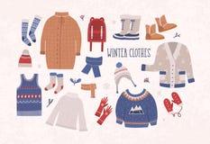 Raccolta dei vestiti e della tuta sportiva di inverno isolati su fondo leggero - saltatore di lana, cardigan, cappotto, stivali d illustrazione vettoriale