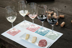 Raccolta dei vetri di vino sulla tavola di legno Immagini Stock