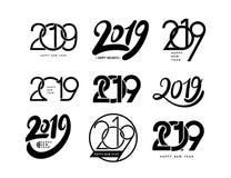 Raccolta del buon anno e delle feste felici Un insieme del modello di progettazione di 2019 testi Illustrazione di vettore Isolat Fotografia Stock