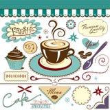 Raccolta del caffè della caffetteria dei grafici Immagini Stock Libere da Diritti