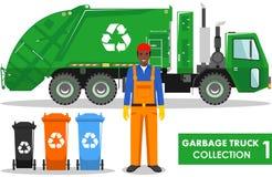 Raccolta del camion di immondizia Illustrazione dettagliata del garbageman, del camion e dei tipi differenti di bidoni della spaz illustrazione vettoriale