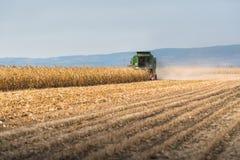 Raccolta del campo di grano con l'associazione immagine stock