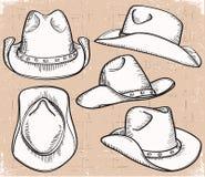 Raccolta del cappello da cowboy su bianco per il disegno Immagine Stock Libera da Diritti