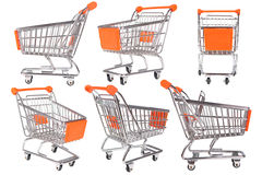 Raccolta del carrello di acquisto su bianco Immagini Stock Libere da Diritti