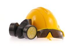Raccolta del casco, della maschera protettiva chimica e del protectio dell'occhio Fotografia Stock Libera da Diritti