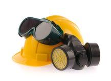 Raccolta del casco, della maschera protettiva chimica e del protectio dell'occhio Fotografia Stock