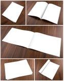 Raccolta del catalogo in bianco, opuscolo, riviste, derisione del libro su sopra fotografia stock libera da diritti
