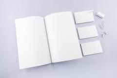 Raccolta del catalogo, della rivista, del modello del libro e dell'affare in bianco Fotografie Stock Libere da Diritti