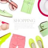 raccolta del collage dei vestiti di estate Fotografie Stock