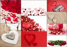 Raccolta del cuore del biglietto di S. Valentino, collage, concetto di amore Immagini Stock