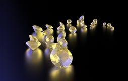 Raccolta del diamante dei gioielli su buio illustrazione vettoriale