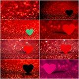 Raccolta del fondo rosso del bokeh del cuore Struttura di giorno di biglietti di S. Valentino Fotografia Stock Libera da Diritti