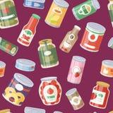 Raccolta del fondo senza cuciture del modello del vario delle latte delle merci inscatolate dell'alimento contenitore del metallo illustrazione di stock