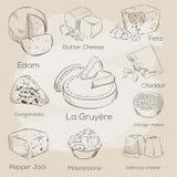 Raccolta del formaggio Illustrazione disegnata a mano di vettore dei tipi del formaggio Fotografie Stock