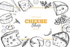 Raccolta del formaggio Vettore 4 disegnati a mano illustrazione di stock