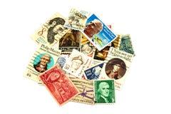Raccolta del francobollo di U.S.A. su fondo bianco Fotografia Stock Libera da Diritti
