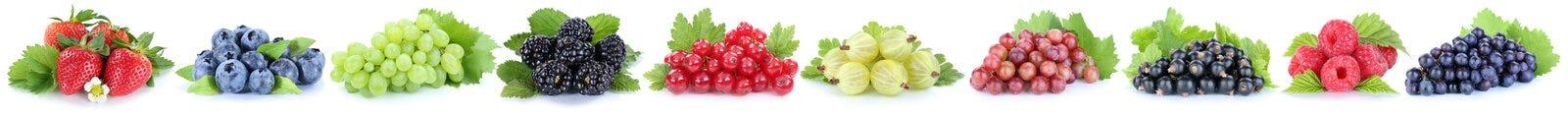 Raccolta del frui della bacca dei mirtilli delle fragole dell'uva delle bacche Fotografia Stock