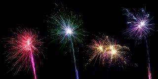 Raccolta del fuoco d'artificio su fondo nero Fotografia Stock Libera da Diritti