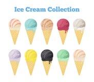 Raccolta del gelato di vettore in coni Gelato nero Stile piano del fumetto Fotografia Stock