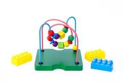 Raccolta del giocattolo del bambino, mattoni del giocattolo Fotografia Stock