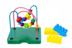 Raccolta del giocattolo del bambino, mattoni del giocattolo Fotografia Stock Libera da Diritti