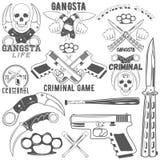 Raccolta del gruppo di vettore e dei logotypes criminali illustrazione di stock