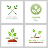 Raccolta del logos della foglia verde Fotografia Stock Libera da Diritti