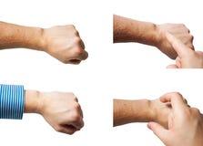 Raccolta del modello delle mani isolata su fondo bianco Fotografia Stock