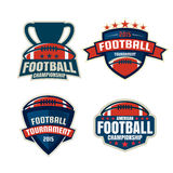 Raccolta del modello di logo di football americano Fotografia Stock Libera da Diritti