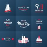 Raccolta del modello di progettazione di giorno del patriota 11 settembre 2001 illustrazione vettoriale