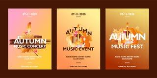 Raccolta del modello del manifesto di musica di autunno per l'evento, concerto, festival Con forma di foglie cadenti su fondo var royalty illustrazione gratis