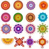 Raccolta del modello variopinto di rangoli per la decorazione di festival dell'India Fotografia Stock Libera da Diritti