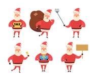 Raccolta del Natale Santa Claus Fumetto e stile piano Illustrazione di vettore Priorità bassa bianca per il vostro web design Immagini Stock