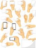 Raccolta del segno della mano - gesti del segno e dell'aggeggio della tenuta Immagini Stock Libere da Diritti