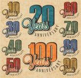 Raccolta del segno di anniversario Immagini Stock