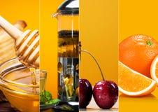 Raccolta del tè e del miele di frutta fresca Immagine Stock