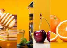 Raccolta del tè e del miele di frutta fresca Immagini Stock