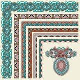 Raccolta del telaio d'annata floreale ornamentale Fotografie Stock