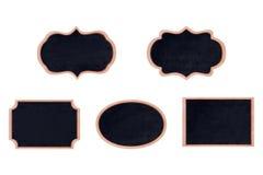 Raccolta del telaio di legno della lavagna di forma con la superficie del nero Fotografia Stock Libera da Diritti