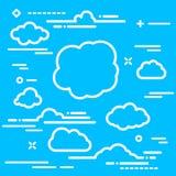 raccolta del templ d'avanguardia dell'icona delle nuvole del profilo bianco lineare piano Immagini Stock
