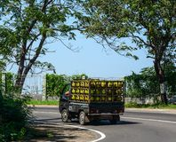 Raccolta del trasporto del gas che corre sulla strada fotografia stock libera da diritti