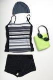 Raccolta del vestito, dei cappucci e dei vetri di nuoto Immagine Stock Libera da Diritti